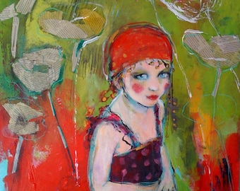 ACEO Circus Girl And The newsprint Flowers-  Fine Art Reproduction by Maria Pace-Wynters