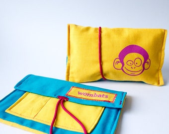 Tobacco pouch yellow, blue, magenta, cat