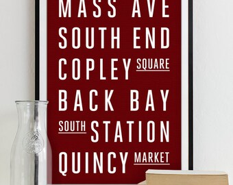 Boston Subway Sign - Typography Print - Modern Home Decor - Boston City Art Poster