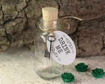 10 Drink Me Bottles Tags Key Charm Drink Me Bottles Clear Glass Bottle Black Potion Bottles Drink Me Favors Alice in Wonderland Party