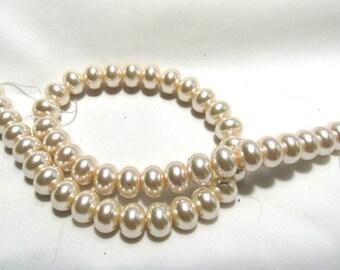 12mm  Glass Pearl Rondelle Bead Strand Cream (B136b2)
