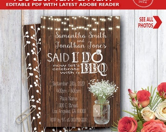 Said I do BBQ Invitation wood rustic after I do party celebration invite YOU EDIT text and print yourself invite 14074