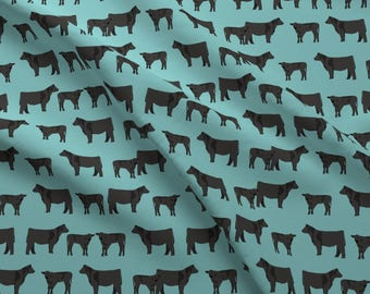 Black Cow Fabric - Black Angus Cattle Cow Livestock Blue By Petfriendly - Angus Farm Animal Steer Cotton Fabric By The Yard With Spoonflower