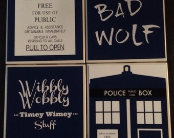 Doctor Who Inspired Drink Coasters | Set of 4