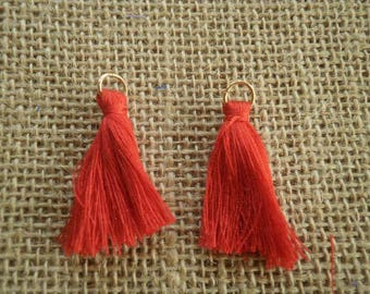 Set of 2 tassels tassel with a ring, red color, size 4 cm