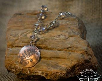 Fern leaf pendant in copper and aluminum