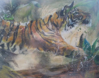 """Original Tiger in the Jungle Painting """"Sophia"""" Approx. 38x47cm in Green Mount"""