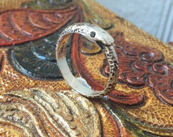 Black Diamonds and Sterling Silver- Larger Ouroboros Ring