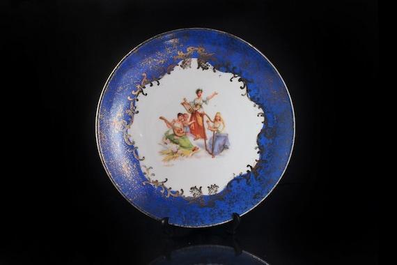 Decorative Antique Plate, Victoria Carlsbad, Austria, Display Plate, Portrait Plate, Gold Gilt