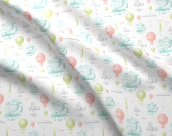 Vintage Hot Air Balloons Fabric - Vintage Balloons By Sweetzoeshop - Rainbow Balloons Nursery Cotton Fabric By The Yard With Spoonflower