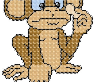 Monkey With Peanut Plastic Canvas Pattern