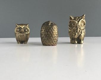Vintage Brass Owls, Vintage Brass Owl Collection, Vintage Instant Collection of Brass Owls, Set of 3 Brass Owl Figurines