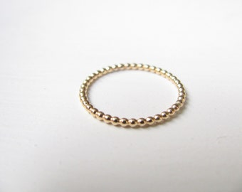 Slim Stacking ring, gold ring, beaded ring, gold stack ring, skinny ring, 14k gold filled ring, stacking band gold, ALL sizes