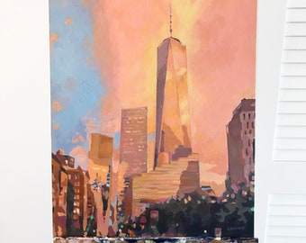 Painting: Freedom Tower (Inquire Directly, Not For Sale on ETSY)