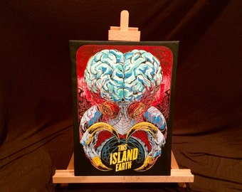 """THIS ISLAND EARTH    Hand Painted   Acrylic Painting on Stretched Canvas     12"""" x 16"""""""