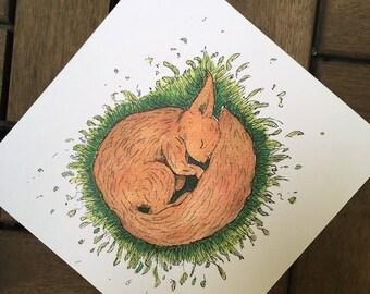 Sleep tight - squirrel - post card 14, 8 x 14, 8 cm, 300 g