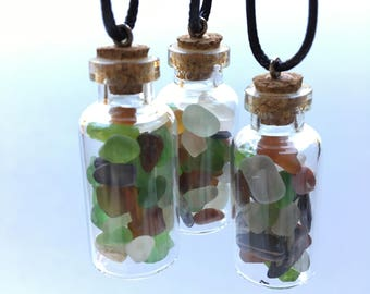 Sea Glass and Shell 1.5 inch Large Glass Bottles, From the Breautiful Northern California Coast