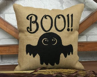 30% OFF SALE Boo Halloween Pillow, Halloween Decorations, Fall Decor, gift, Hand Embroidery, Pillow From Available in All Sizes And Colors