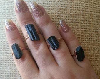 Black Tourmaline Copper Electroformed Ring. Healing Metal Jewelry.