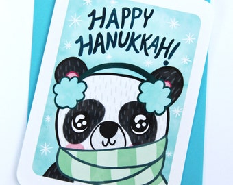 Panda Hanukkah holiday card - Holiday Notecard, Hanukkah Card, Panda Hanukkah Card, chanukkah card, cute hanukkah, Panda Bear Holiday card