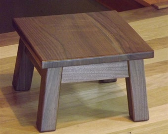 "Walnut/ step stool/ foot stool/ riser/ 8"" to 10"" H/ mission style"