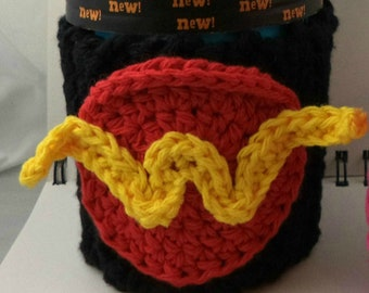 Crocheted Coffee or Ice Cream Cozy in Black Cotton with Round Pocket in Red and Yellow with Dark Red Button (SWG-F10)