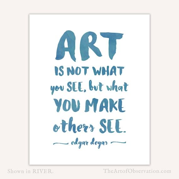 Art Quotes: Art Quote Print Gift For Artist Art Teacher Gift Watercolor
