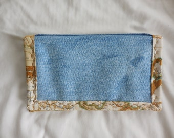 Checkbook Cover in upcycled denim, tan and gold trim, sturdy hardworking denim for top tear checks and register w/ debit pocket, recycled 7