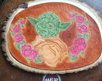 Yoda with roses leather art piece