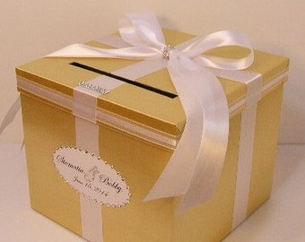 Wedding Card Box Gold and White   Gift Card Box Money Box Holder-Customize your color