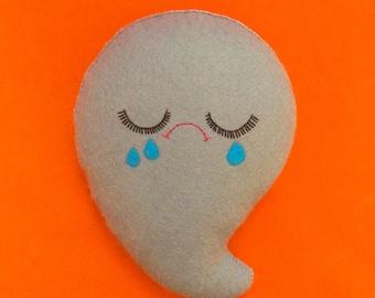Sad Halloween Ghost - Halloween Decor - Cute Ghost Plush - Cute Halloween Decor - Creepy Cute