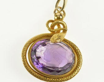 14K Carved Amethyst Intaglio Serpent Accent Pendant Yellow Gold
