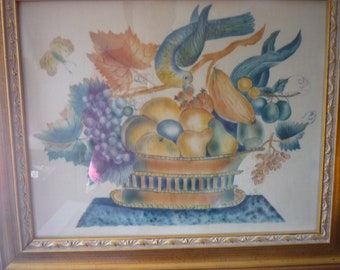 Bowel of Fruit with Bird - Louise Rivers Theorem painting Paint on velvet - Artist initials Excellent condition - large framed art Americana