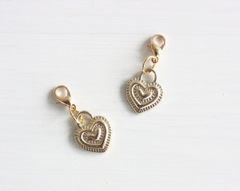 Gold plated heart planner charm