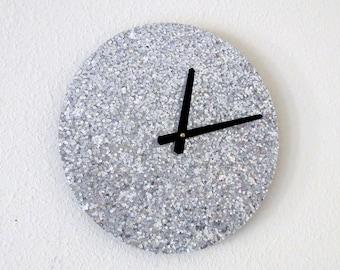 Silver Wall Clock, Glitter Clocks,  Home Decor,  Home and Living,  Decor & Housewares