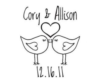 Custom Wedding Rubber Stamp - Wedding Stamp -Custom Stamp -  Personalized Stamp -Birds in love lovebirds save the date