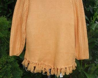 Poncho sweater in sunny orange-yellow