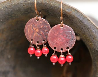 TO order earrings, boho, Bohemian, rustic, chic, copper, hammered copper embossed, coral, leaves, small, lightweight earrings