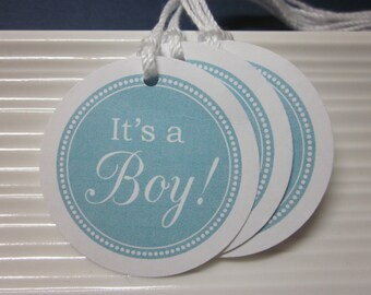 It's a Boy / Blue and White / Baby Boy / Baby Shower / Gender Reveal / favor tags / set of 10