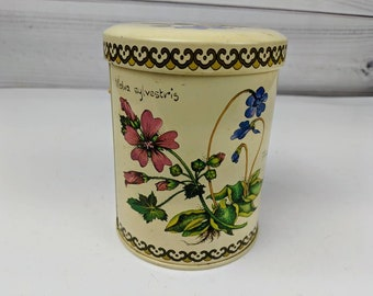 Vintage Botanical by Baret Ware Tea  Tin Can Container Empty Floral
