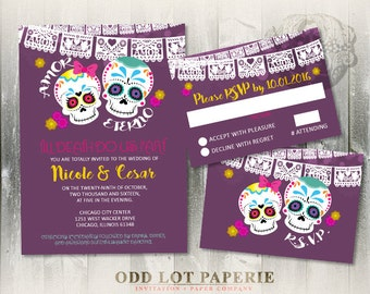Celebration Sugar Skull Wedding Invite Set Fiesta Mexican Wedding Latina Bride Calaveras Till Death Do Us Part DIY Printable Wedding Invite