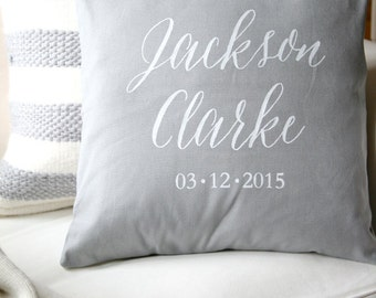Personalized Pillow Cover, Custom Pillow, Baby Pillow Cover, Baby Name Pillow, Grey Pillow, Gray Pillow, White Text, Baby Shower Gift
