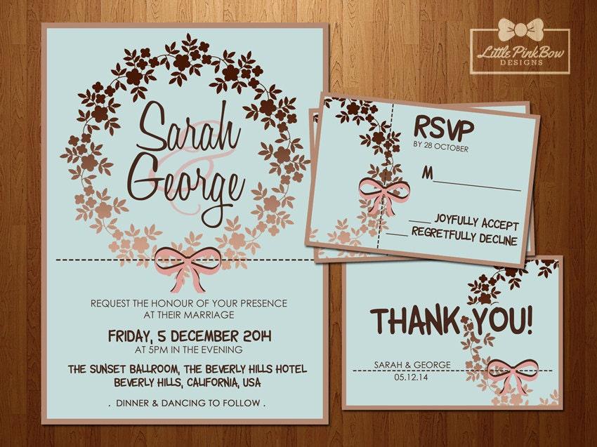 Mint Rose Gold Wedding Invitation RSVP Thank You set