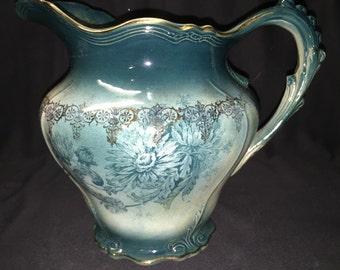 Vintage Buffalo Pottery semi vitreous chrysanthemum pitcher
