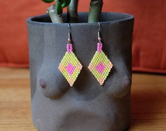 Neon Arrow, Miyuki Seed Bead Earrings