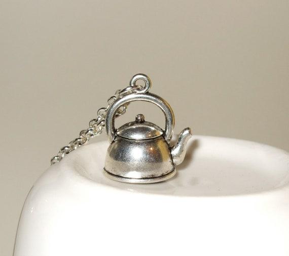 Kettle Necklace, Tea Time Charm, Tea Kettle Pendant, Silver Kettle Charm, Time For Tea, Tea Party Necklace, Kettle Pendant, Tea Lover Gift