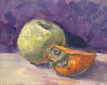 Apple and Persimmon  Painting Original Oil  Painting 5 x 7""
