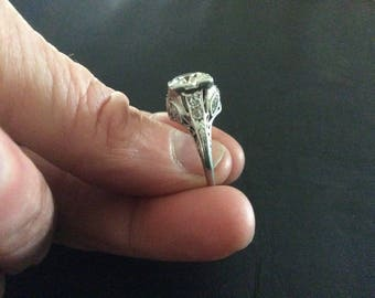 Antique platinum diamond engagement ring