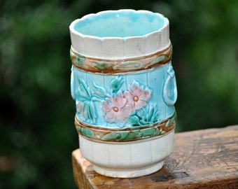 Majolica Spoon Holder, Over 100 pc. in our shop, Antique, Vintage, Beautiful blue pink majolica pottery, Great Price, #903