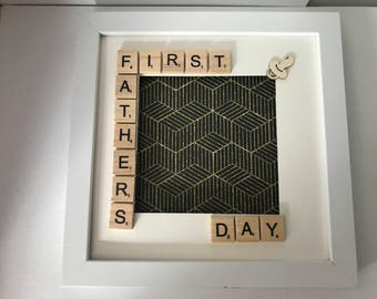 First Fathers Day Scrabble Frame - Fathers Day - Birthdays - Just Because